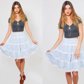 Vintage 70s GUNNE SAX Skirt Baby Blue Mini PRAIRIE  Skirt Lace Boho Skirt Tiered Hippie Skirt