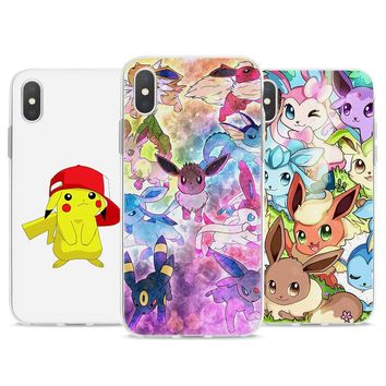 Soft TPU case cartoon pokemons eevee pika Soft TPU Silicone Phone Case for Apple iPhone 7 8 8Plus 7Plus 6 6s 6Plus X 5s SE