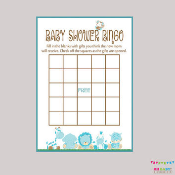 Baby Shower Bingo Boy - Blue Bingo Cards - Digital Instant Download - Blue Baby Shower - Blue Safari Baby Shower Game - BS0001-B