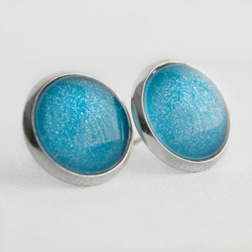 Iceberg Post Earrings in Silver - Ice Blue Shimmery Studs