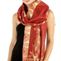 HauteChicWebstore Bright Lights Bold Metallic Paisley Pashmina in Red - www.shophcw.com