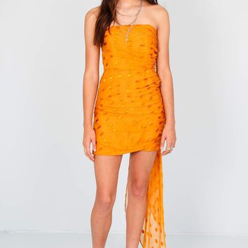 MICHELLE MASON | Dot Ruched Strapless Dress - Saffron