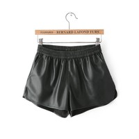 Winter Soft PU Leather Pants Shorts [6047374017]