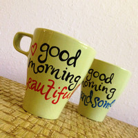 GoodMorning Coffee Mugs - Hand Painted and (Ready To Ship)
