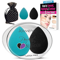 2 PC Jouvenet Makeup Sponges, 2 Latex-Free Vitamin-E Infused Beauty Sponge Blenders for Foundation Blending Liquid Cream Concealer Blush Cosmetics. Ebook Highlight & Contour