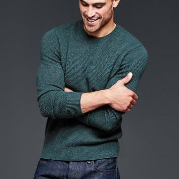Gap Men Lambswool Textured Crew Sweater