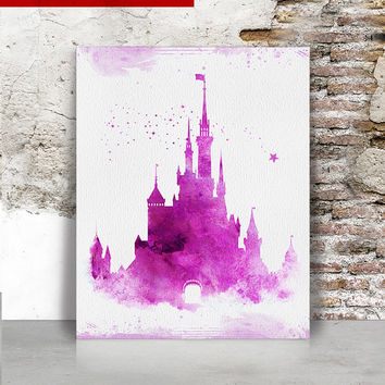 Cinderella castle watercolor print, Disney Watercolor print, princess castle, castle watercolor Disney watercolor Wall art FamoustarsPrints.