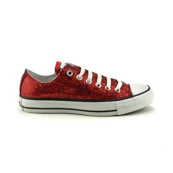 Converse All Star Lo Glitter Athletic Shoe, Red, at Journeys Shoes