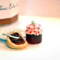 Miniature Food Earrings Bread and Cherry Jam Jar by AllartsKitchen