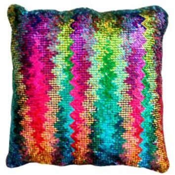 16x16 inches Mermaid Sequin Pillow with Insert-Rainbow Silver Holographic