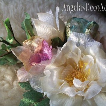 Silk Floral Corsage, Freeze Dry Look, Mother's Pin On Flowers, Victorian Chic, Shabby, Boudoir Bouquet Accent, Mint Cream Ivory Pink Mauve