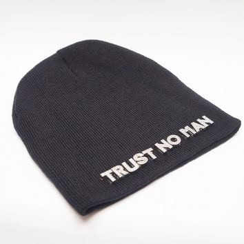 """Trust No Man"" Beanie Silver Accents"