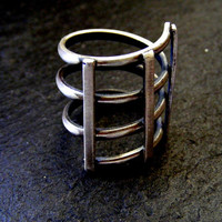 Silver Statement Geometric Cage Ring Brushed Finish Abstract Silver ring