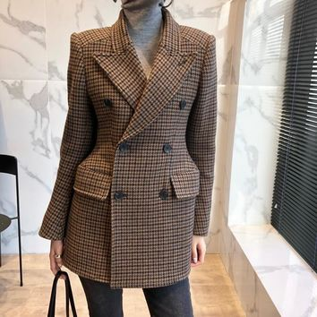 Slim Wool Suit Jacket 2018 Winter Autumn New Fashion Elegant Brown Plaid Women's Blazers Vintage Office Wear