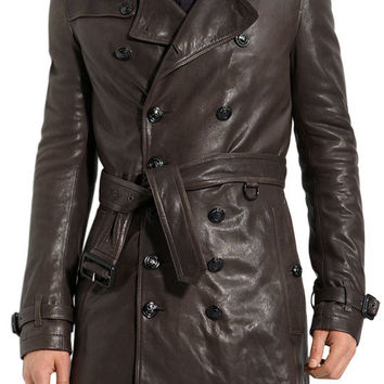 Men brown leather long coat, pure leather coat, mens real leather jacket,men brown long leather coat