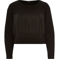 River Island Womens Black fringed front long sleeve sweatshirt