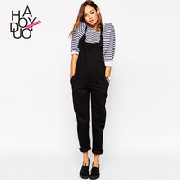 Haoduoyi Women Preppy style Pocket long Pants jumpsuits Fashion Casual Adjustable Rompers