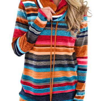 Vibrant Multicolor Cowl Neck Striped Long Sleeve Sweatshirt