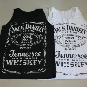 Brand new Women Jack Daniels tank top tee t-shirt black and white ... S-M Size