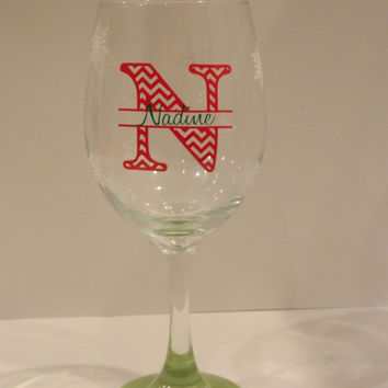 Split Chevron letter with customized name red and green holiday wine glass with snow flakes