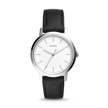 Neely Three-Hand Black Leather Watch