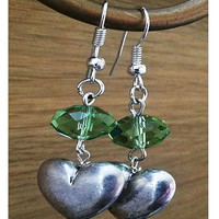 Green Crystal and Metal Heart Dangle Earrings