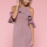 Chic Ruffle Dress - Mauve