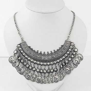 2016 Boho Turkish Coins Choker Maxi Necklaces & Pendants for Women Vintage Multilayer Statement Choker Collier Femme Jewelry