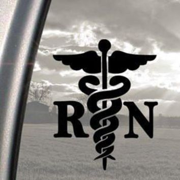 Caduceus logo Registered Nurse RN Decal Sticker For Wall Room Car