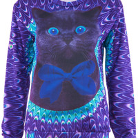 ROMWE | Black Cat Print Purple T-shirt, The Latest Street Fashion