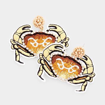 Crystal Pave Trim Crab Embroidery Drop Earrings