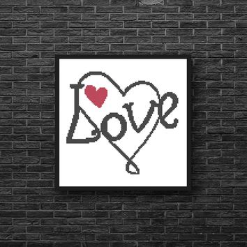 Graffiti Red Heart Silhouette Cross Stitch Pattern