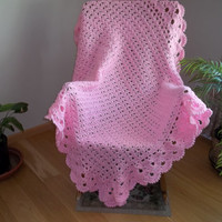 Crochet Lacy Afghan in Pink