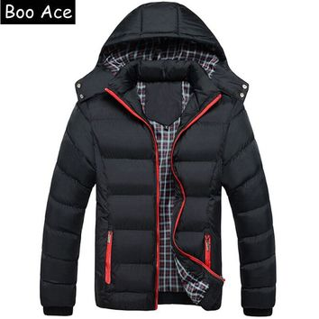 2016 Winter Coat Men quilted black puffer jacket warm fashion male overcoat parka outwear cotton padded hooded coat Size XL-4XL