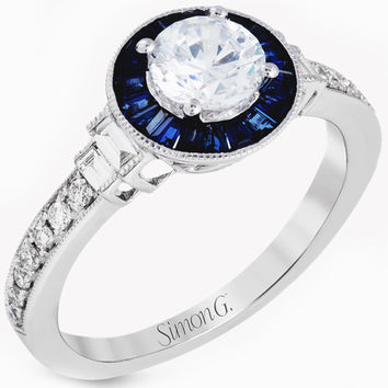 "Simon G. ""Art Deco"" Blue Sapphire Diamond Halo Engagement Ring"