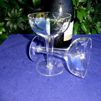 Vintage Hollow Stemmed Toasting Glasses with Starburst Pattern Wedding Engagement Special Occassion