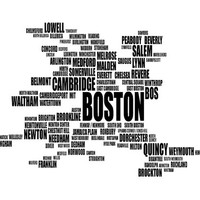 Boston Typography Map, Greater Boston Text Art Print, Boston metropolitan area City Font - Choose color and size