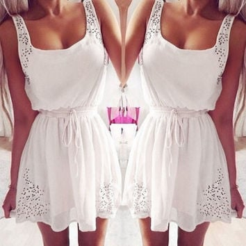 Women Fashion Dot Hollow Sleeveless Chiffon Dresses Mini Skirts = 1932787332