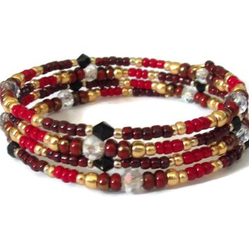 Deep Shades of Red Glass w/ Galvanized Gold Beads & Clear Swarovki Crystals Artisan Crafted Wrap Bracelet (M-L)