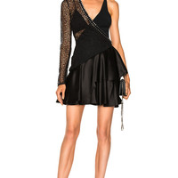 David Koma One Sleeve Macrame Ruched Asymmetric Hem Dress in Black | FWRD