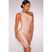 Apricot Lace Up One Shoulder Mini Bandage Dress LAVELIQ