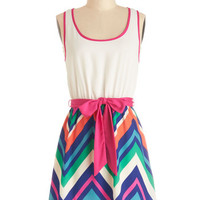 ModCloth Mid-length Tank top (2 thick straps) A-line Zigzag Zowie Dress