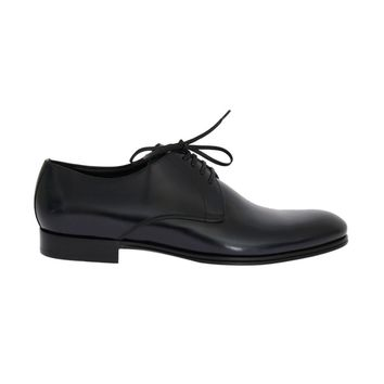 Dolce & Gabbana Blue Navy Leather Oxford Derby Formal Shoes
