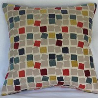 Colorful Mod Squares Chenille Pillow Cover