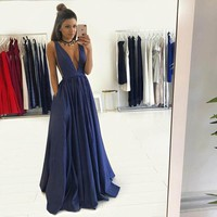 Sexy Navy Blue V Neck Formal Gown,Satin Evening Dress With Shirred Skirt