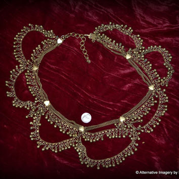 Vintage Mid Century East Indian White Metal Belly Dancer Hippie Burlesque Belt covered in hearts and loops of bells