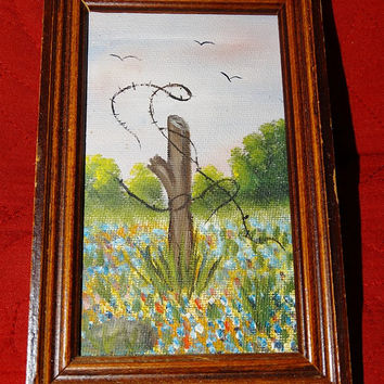 Vintage Miniature Oil Painting , Fence Post, Barbed Wire, Birds, Field of Blue Bonnets, Texas Oil Painting