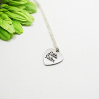 Silver Little Sister Necklace - Little Sis Necklace - Sister Gift - Stainless Steel Charm - Sister Jewelry - Sis Charm - Little Sis Jewelry