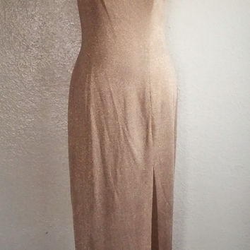 Vintage 70's Gold Dress Long Metallic Body Con Frock with Side Slit