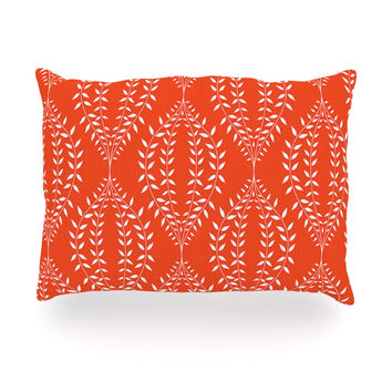 "Anneline Sophia ""Laurel Leaf Orange"" Red Floral Oblong Pillow"